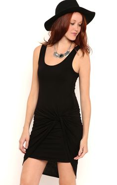 Deb Shops E-solid rayon jersey tank strap ruched knot side asymetric hem $15.75