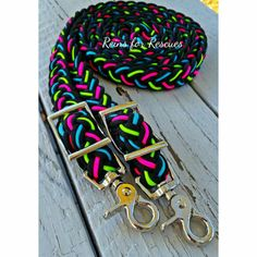 Black Adjustable Riding Reins with Turquoise, Lime Green & Hot Pink