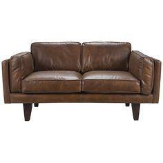 Leather love seat with danish modern legs