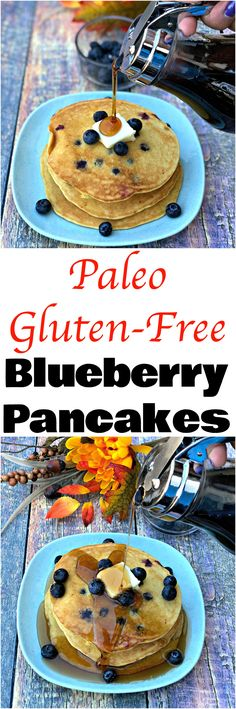 Paleo Gluten-Free Grain-Free Blueberry Pancakes is a quick and easy healthy breakfast recipe with almond flour and sugar-free, low carb syrup that is perfect for meal prep. #Paleo #PaleoRecipes #GlutenFree #GlutenFreeRecipes #Pancakes #Breakfast #BreakfastRecipes
