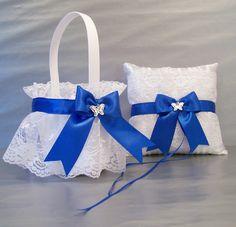 Royal Blue Wedding Bridal Flower Girl Basket and Ring Bearer Pillow Set ~ on White or Ivory Satin