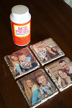 Coasters!  Cool idea!  I've seen this done with black and white photos...with the photo transferred directly onto the tile.   Make sure to SEAL it...5 coats of Krylon Acrylic Clear Coat..worked perfectly!