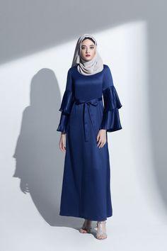 blue navy abaya evening gown pleated sleeve maxi long dress modest islamic clothing satin muslimah eid ramadan dress Modest Wear, Modest Dresses, Satin Dresses, Dresses With Sleeves, Muslim Dress, Evening Gowns, High Neck Dress, Abaya Style, Kebaya