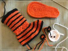 BiBa - Käsityöohjeet: neuletossut, villatossut, virkatut tiikeri-tossut - ohjeet Knitting Needles, Wool Yarn, Fingerless Gloves, Arm Warmers, Slippers, Crochet, Crafts, Fingerless Mitts, Manualidades