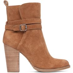 Lucky Brand Latonya Heeled Bootie ($139) ❤ liked on Polyvore featuring shoes, boots, ankle booties, honey, suede bootie, ankle boots, short boots, suede leather boots and lucky brand boots