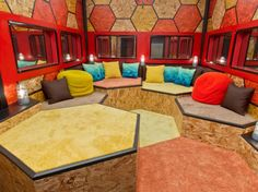 Honeycomb Room, Featured on Big Brother Season 16 http://www.frontdoor.com/photos/tour-the-house-from-big-brother-season-16?soc=pinterest