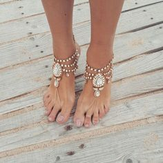Beach Wedding Barefoot Sandals,Bridal Foot Jewelry,Boho Slave... (£68) ❤ liked on Polyvore featuring jewelry, boho jewellery, beach jewelry, beachy jewelry, bride jewelry and anklet jewelry