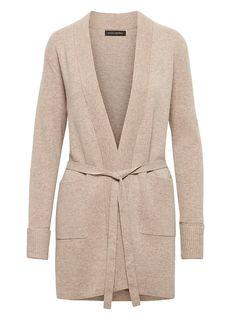 948ebc0281 Banana Republic Womens Belted Cardigan Sweater Natural Belted Cardigan