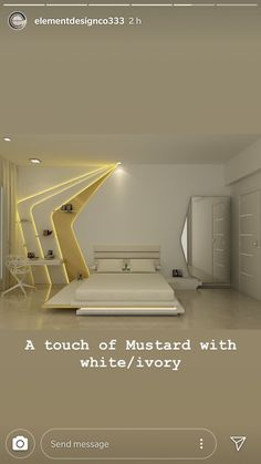 Bedroom - A touch of Mustard with white/ivory Modern Luxury Bedroom, Luxury Bedroom Design, Bedroom Bed Design, Bedroom Furniture Design, Luxurious Bedrooms, Home Decor Bedroom, Home Interior Design, Ceiling Design Living Room, Bedroom False Ceiling Design