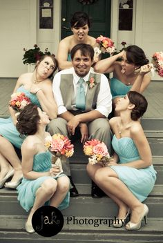 wedding photography. wedding picture ideas. groom with bridesmaids. funny wedding picture