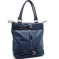 Buckle Accented Hobo Handbag with Front Pocket