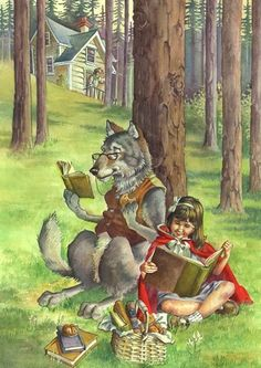 O Lobo Leitor: A menina do Capuchinho Vermelho e o lobo mau lêem juntos. I think it would make a great writing prompt for Little Red Riding Hood! Red Riding Hood Book, Reading Art, Big Bad Wolf, Children's Book Illustration, Food Illustrations, Little Red, Book Worms, Illustrators, Book Art