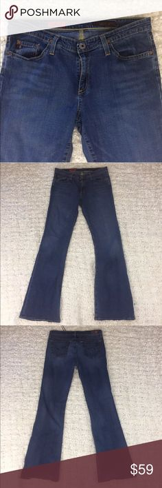 "AG Adriano Goldschmied the Angel 😇 Just Perfect😍 Excellent Used Condition! beautiful ""The Angel"" jeans by AG Adriano Goldschmied Size 30R. Medium blue washed. Very flattering, Couple of small holes at the back hems please see pictures. Amazing Button closing system! Measurements laying flat:  Waist 17 inches  Inseam 34 inches  Rise 8.5 inches  B41 Ag Adriano Goldschmied Jeans Boot Cut"