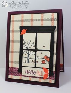 Stampin' Up! Happy Scenes with Hearth & Home Thinlits Dies (Stamp With Amy K) Fall Cards, Holiday Cards, Christmas Cards, Up Halloween, Halloween Cards, Window Cards, Window Frames, Leaf Cards, Hearth And Home