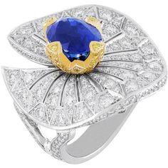 Nefertem Ring, Palais de la chance collection  Van Cleef & Arpels   White gold, diamonds, yellow gold, yellow diamonds, one 5,74 carat oval-cut sapphire.