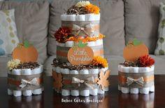 SET OF 3 Little Pumpkin Diaper Cake Set Fall by BabeeCakesBoutique