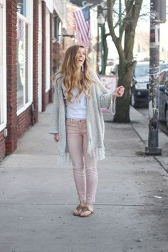 Cardigans aren't just for winter! My favorite spring cardigan is perfect with my pink jeans! I accessorized with my monogram necklace and tassel earrings! By Lauren Lindmark on dailydoseofcharm.com daily dose of charm