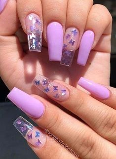 Acrylic nail designs 713679872184387241 - 33 Gorgeous Clear Nail Designs to Ins. - My Pins - Acrylic nail designs 713679872184387241 – 33 Gorgeous Clear Nail Designs to Inspire You Source b - Purple Acrylic Nails, Clear Acrylic Nails, Acrylic Nails Coffin Short, Clear Nails With Glitter, Pastel Blue Nails, Purple Glitter Nails, Purple Nail Art, Coffin Acrylics, Colorful Nails