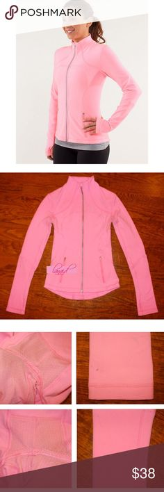 """Lululemon Brushed Forme Jacket Shell Pink Zing 2 📡PRICE IS FIRM AND NON-NEGOTIABLE. NO OFFERS. LOWBALLERS WILL BE BLOCKED. NO TRADES.📡 Lululemon """"Forme Jacket II"""" *Brushed in Shell Pink, size 2. Mesh under the arms seem to be slightly discolored (see close-ups)--not really noticeable, may just be the color difference of the mesh vs. the rest of the fabric. Some faint marks on sleeves (see close-up photos)--virtually unnoticeable and I didn't try washing them. Price reflects. Inside is…"""