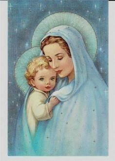 Mother Mary and Jesus. Blessed Mother Mary, Blessed Virgin Mary, Jesus Mother, Catholic Art, Religious Art, Roman Catholic, Madona, Animated Gifs, Mama Mary