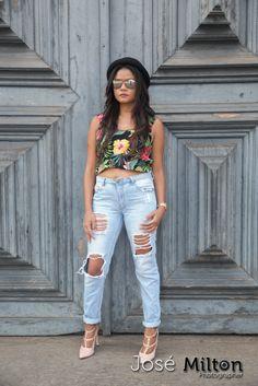 Cropped e Jeans destroyed ... queimei a língua | Feminilidades