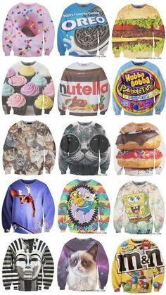 awesome sweatshirts...I know I want the cupcake sweatshirt, but there are a few others that would be good as well!
