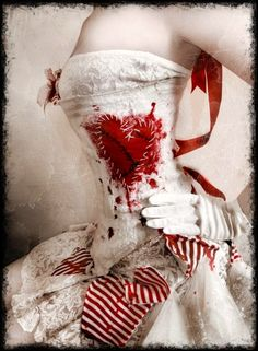 I really like the idea of the red heart and blood dripping from the inside to the outside of the dress.