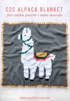 This modern c2c crochet llama or alpaca blanket pattern is perfect for a baby afghan or adult throw. The pom pom edging completes the corner-to-corner-crochet look! #makeanddocrew #crochet #videotutorial #freepattern #c2c #c2crochet
