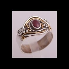 Ring | Stefano Dimalta.  Recycled 24k gold, sterling silver and ruby