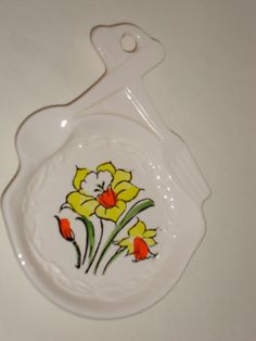 Cute Vintage Spring Daffodil Narcissus Spoon Rest Ceramic on Etsy, $10.00