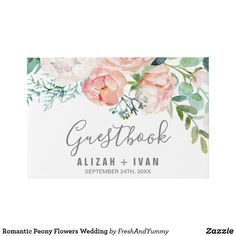Romantic Peony Flowers Wedding Guest Book Custom beautifully designed all they need is your touch to match your and sets Wedding Guest List, The Wedding Date, Rose Wedding, Wedding Guest Book, Floral Wedding, Wedding Flowers, Romantic Wedding Colors, Romantic Wedding Receptions, Romantic Weddings