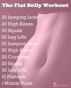 Flat Belly Workout. Can't do the crunches or plank but everything else sounds like I need to do it :)