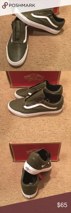 6642b6b8e Antique Leather Old Skool Zip Vans New in box. Ivy green Vans Shoes  Sneakers Tênis
