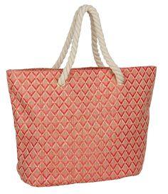 """SIX """"Sommer"""" große Damen Handtasche Strand-Tasche mit Rauten Muster in Koralle, Pink, Beige & Kordeln Henkeln (463-098)"""