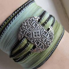 Silver Wrap Bracelet Silk Ribbon Bracelet by EarthshineDesigns1, $41.00