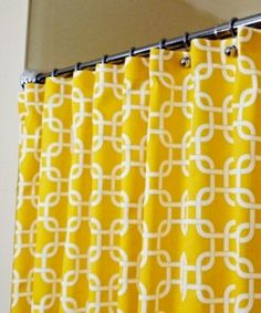 66 Bright And Colorful Shower Curtain Designs Ideas - About-Ruth Yellow Shower Curtains, Colorful Shower Curtain, Long Shower Curtains, Bathroom Curtain Set, Hall Bathroom, Curtain Sets, Extra Long Shower Curtain, Black Shower, Yellow Bathrooms