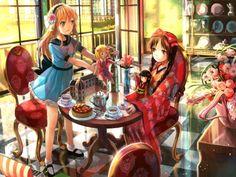 Anime Girl with Blonde Hair and kimono | 2girls black hair blonde hair book bow braids brown eyes cake dress ...