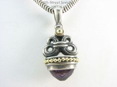 Retired-Lagos-Caviar-Sterling-Silver-925-18K-Gold-Amethyst-Fob-Pendant-Necklace