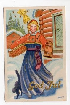 Christmas Greetings from Norway, 1939 Merry Christmas And Happy New Year, Christmas Elf, Christmas Greetings, Christmas Cards, Christmas Postcards, Holiday, Norwegian Christmas, Scandinavian Christmas, Nature Images