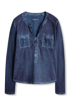 edc by ESPRIT 086CC1K069, T-Shirt À Manches Longues Femme, Bleu (GREY BLUE), 34 (Taille fabricant: X-Small): Amazon.fr: Vêtements et accessoires