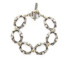 Women's Konstantino 'Amphitrite' Pearl Link Bracelet (19719720 BYR) ❤ liked on Polyvore featuring jewelry, bracelets, pearl, konstantino jewelry, 18 karat gold jewelry, toggle bracelet, pearl jewelry and konstantino