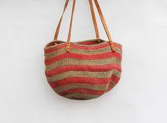 Vintage Striped  Jute Market Bag by redpoppyvintageshop on Etsy, $38.00