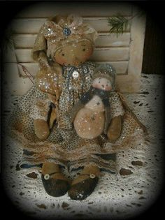 Primitive Olde Snow Gal Doll With Her Baby Snowman