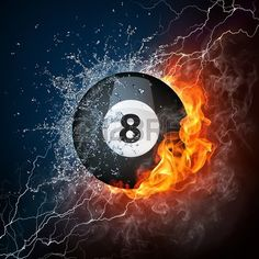 pool billiards ball in fire water computer graphics stock photo
