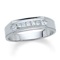 Fresh T W Princess Cut Channel Set Diamond Wedding Band in K White