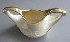 Pearl China Open Sugar Bowl  22k Gold Trim Vintage discontinued USA  #Pearl