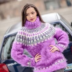 FREE SHIPPING Tiffy Mohair Hand Knitted T- neck Icelandic Sweater Fuzzy Fluffy  M L XL  Made to order T 410 by TiffysMohair on Etsy