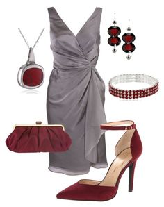 """""""Silver wrap dress (mother of the bride) #765"""" by highheelsandhotflashes ❤ liked on Polyvore featuring Matthew Eager, Nine West, Jessica Simpson, Jozica and 1928"""