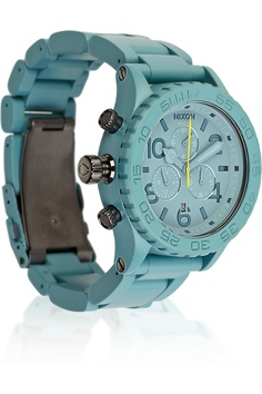 Nixon Chrono stainless steel watch Can't resist the color. Cool Watches, Watches For Men, Nixon Watches, Wrist Watches, Stainless Steel Watch, Brushed Stainless Steel, Surf Watch, Stella Mccartney Bag, Denim Sandals