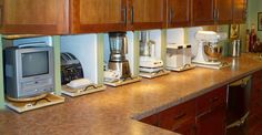 Small Kitchens space saving kitchen appliances u and pantryrhonehundreddaysus small germany rhanyaflowcom kitchen Best Appliances For Small Kitchens small appliances germany best jpg Appliance Garage, Kitchen Appliance Storage, Small Kitchen Appliances, Double Oven Kitchen, New Kitchen, Double Ovens, Kitchen Ideas, Kitchen Cabinet Doors, Kitchen Cabinets